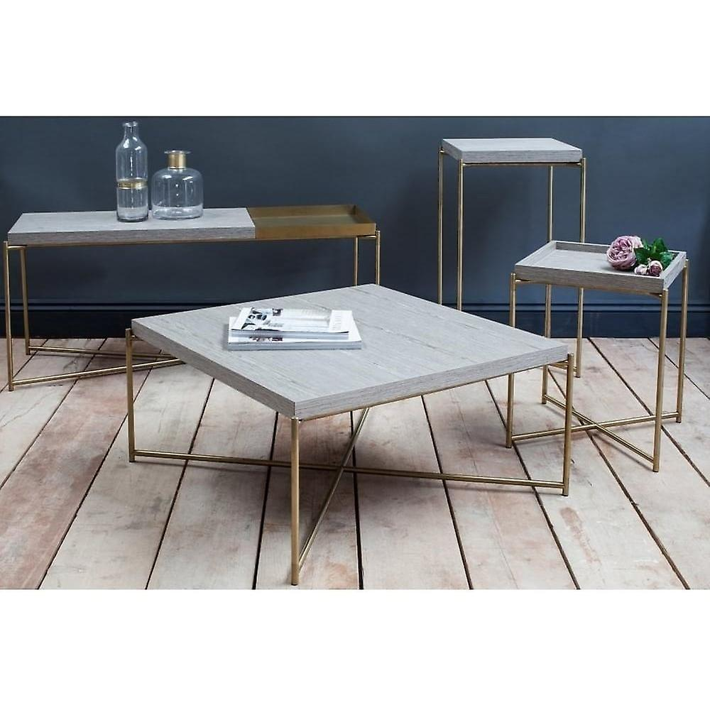 Gillmore Weathered Oak Square Lamp Table With Brass Cross Base