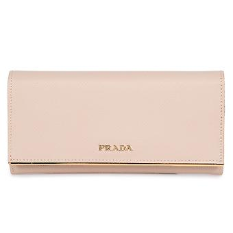 Prada Beige Saffiano Leather Flap Wallet With Metal Bar Detail 1MH132 QME F0236