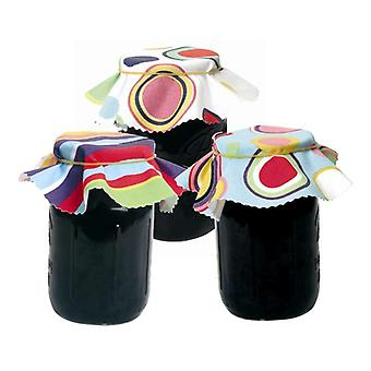 Swift Target og Barcode design stoff Jam Pot Covers, pakke med 8