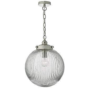 Tamara 1lt Pendant Satin Nickel - Verre Ribbed