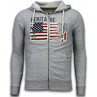Casual Cardigan-Embroidery American Heritage-Grey