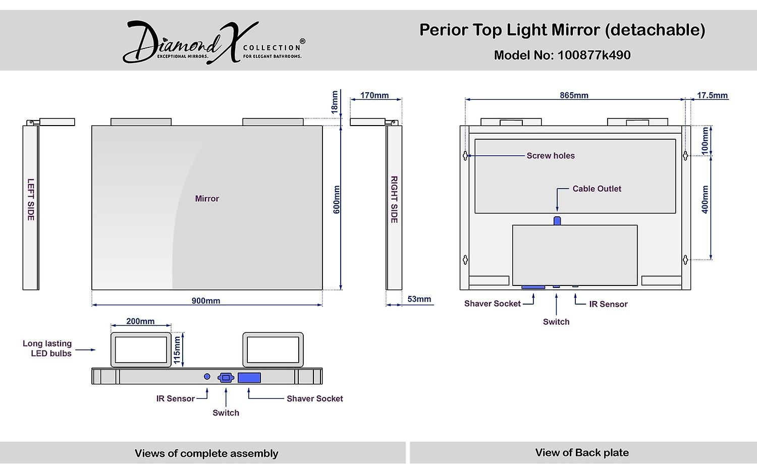 Perior Audio Top Light Mirror with Sensor and Shaver Socket k490
