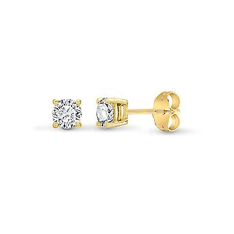 Jewelco London Ladies Solid 18ct Yellow Gold 4 Claw Set Round G SI1 0.75ct Diamond Solitaire Stud Boucles d'oreilles