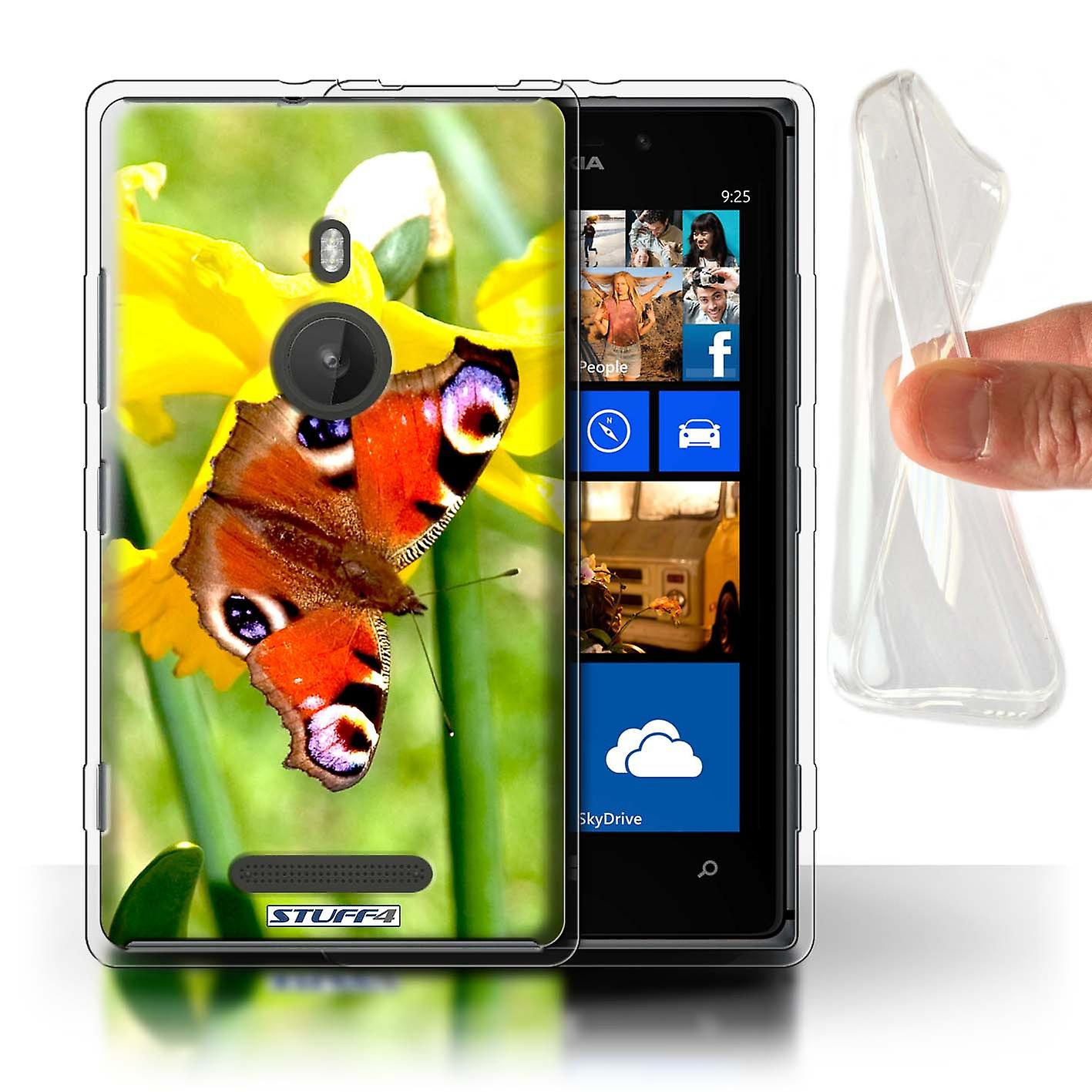 STUFF4 Gel TPU Case/Cover for Nokia Lumia 925/Butterfly/Floral Garden Flowers
