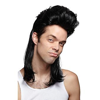 Nightclub Black Mullet 1980s Hillbilly Redneck White Trash Mens Costume Wig