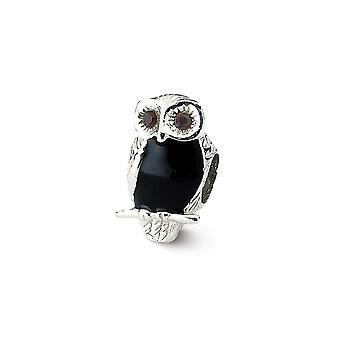 925 Sterling Silber poliert Finish Reflexionen benennt weise Eule Perle Anhänger Anhänger Halskette Schmuck Geschenke für Frauen