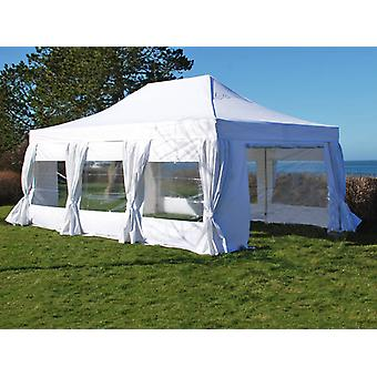 Carpa plegable FleXtents PRO 4x6m Blanco, incl. 8 lados & cortinas decorativas