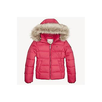 Tommy Hilfiger Girls Pink Basic Down Hooded Puffer Jacket