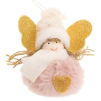 10cm Pink Pom Pom Angel Hanging Christmas Tree Ornament