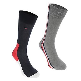 Tommy Bodywear Mens Gents Icon Hidden 2 Pack Striped Soft Casual Socks