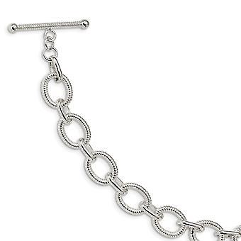 925 Sterling Silver Polished Fancy Link Bracelet - 7.5 Inch