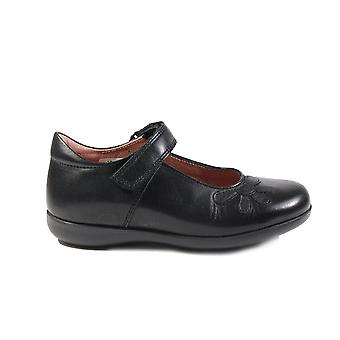 Petasil Bonnie E Width Black Leather Girls Mary Jane School Shoes