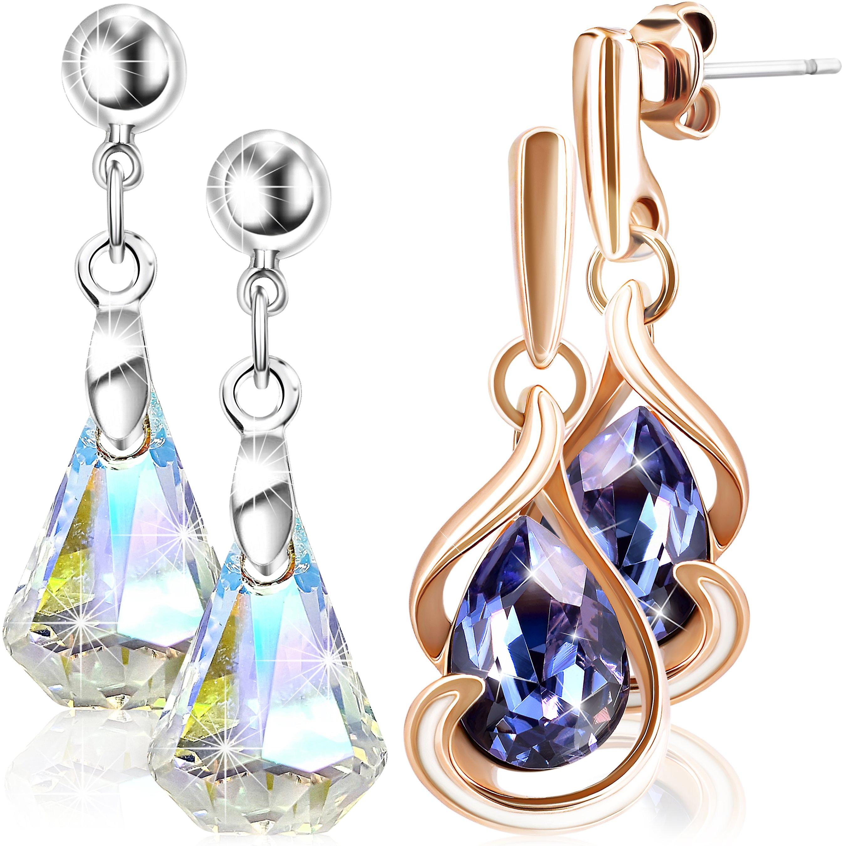 2 pairs of stud earrings for women with swarovski crystal. gold and rhodium plated. by 2splendid. gift box included. eeqz001