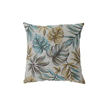 Contemporary Style Leaf Designed Set of 2 Throw Pillows, Blue