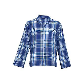 Kyberjamie 6426 muži ' s Buzz modrá kontrola bavlna tkaná pyjama Top