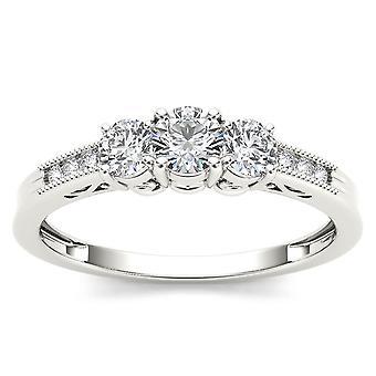 IGI certifié Engagemet anneau de diamant 14 k or blanc 0,50 Ct trois pierres naturelles