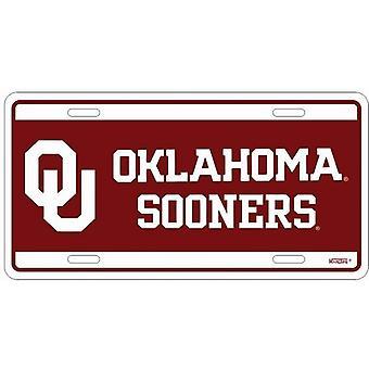 Oklahoma Sooners NCAA Team Color License Plate