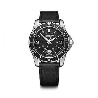 Victorinox Watch 241862 - Maverick/ steel silver box/ black leather bracelet Men