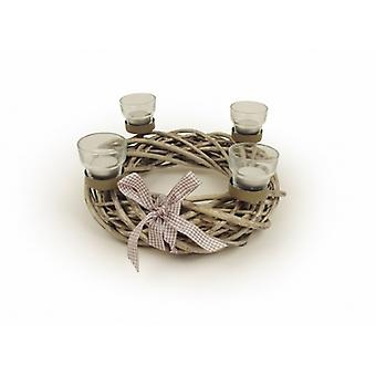 Willow Wreath Multi Candle Holder Table Feature