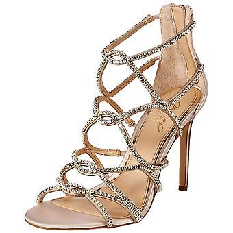 Jewel Badgley Mischka Women-apos;s DELANCEY Sandal, champagne satin, 8,5 M US