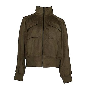 G.I.L.I. got it love it Women's Faux Suede Bomber Jacket Green A311398