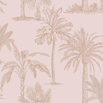 Glinsterende tropische bomen Wallpaper Blush Roze / Rose Gold Holden 12822