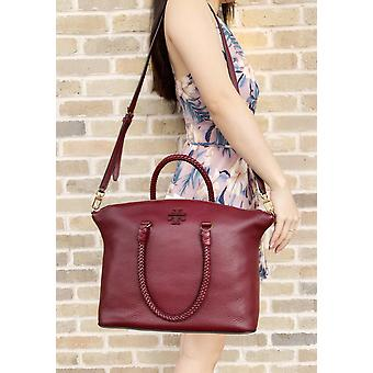 Tory burch taylor satchel crossbody imperial garnet burgundy