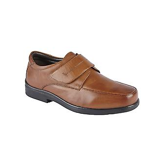 Roamers Tan Leather Touch Fastening Mudguard Casual Shoe