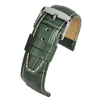 Crocodile grain watch strap green super croc grain with nubuck lining