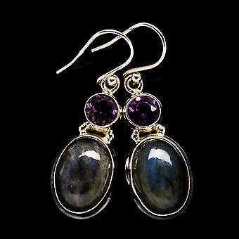Labradorite, Amethyst Earrings 1 1/2