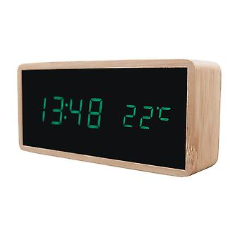 Despertador digital com design de madeira - Verde