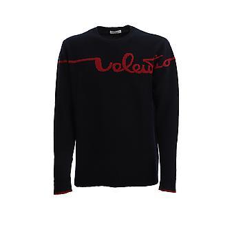Valentino Tv3kc07u64hi52 Män's Black Wool Tröja