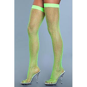 High Nylon Fishnet Stockings - Neon Green
