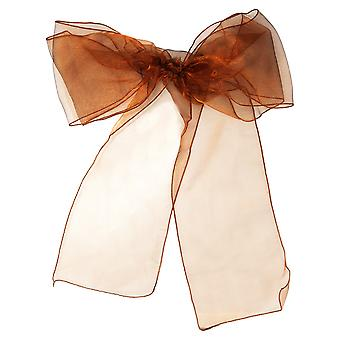17cm x 274cm Organza Table Runners Wider et Fuller Sashes Chocolat