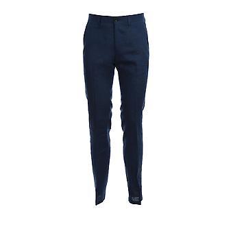 Corneliani 854l000114036005 Men's Blue Linen Pants