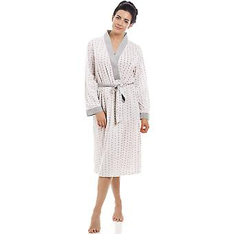 Camille Pink & Grey Floral Pinstriped Lightweight Polycotton Dressing Gown