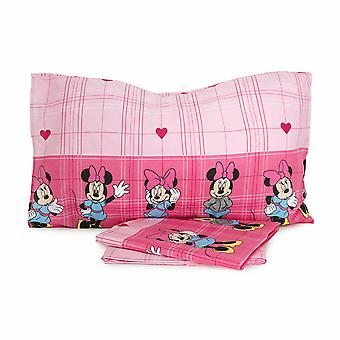 Minnie Set Bed Sheets Square and Half Fuxia
