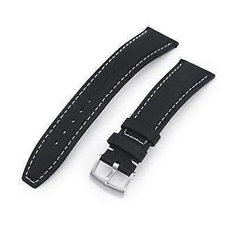 רצועת כתפיות עור שעון רצועה 20mm או 22mm שחור בנרתיק לסיים לצפות רצועת, בז תפרים, מוברש