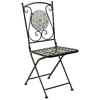 Charles Bentley 3 Piece Wrought Iron Mosaic Bistro Set Table et 2 chaises