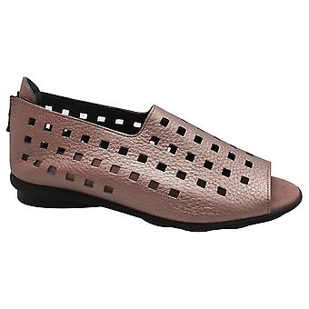 Arche Drick Metallic Bronze Soft Leather Peep Toe Flat Perforated Sandal