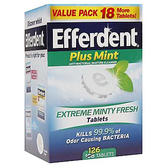 Efferdent tablets, plus mint, 126 ea