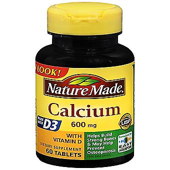 Nature made calcium, 600 mg, with vitamin d3, tablets, 60 ea