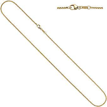 女性の遺伝性ネックレス 585イエローゴールド1.5mm 36 cmゴールドチェーンネックレスゴールドチェーンカラビナ