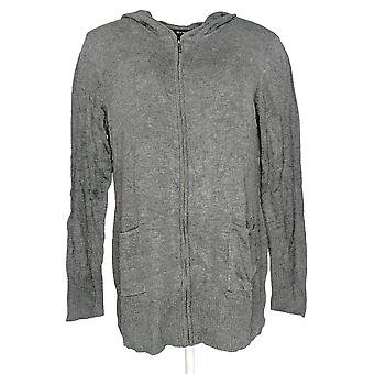 H by Halston Women's Sweater Zip Front Sweater Hoodie Gray A297965