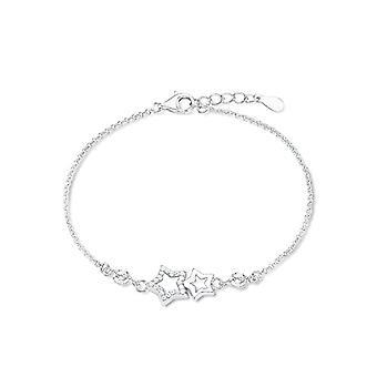 Amor 539234-hopea Sterling 925 hopea ranne koru valkoinen Strassirondelli-säädettävä pituus