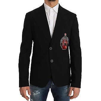 Dolce & Gabbana Black Wool Beaded Applique Jacket -- JKT1938224