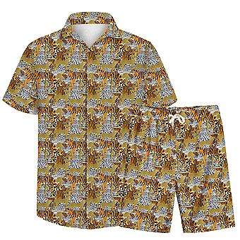 Allthemen Men's 3D Tiger Leopard Suits 2-Pcs Camisa&Shorts