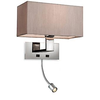 Prince Wall Lamp With Reading Light, Steel, With Pearl Shade