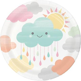 Sunshine and Cloud Baby Showers Small Paper Plates x 8