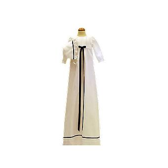 Christening Gown In Optic White Linen And Navy Blue Ribbons
